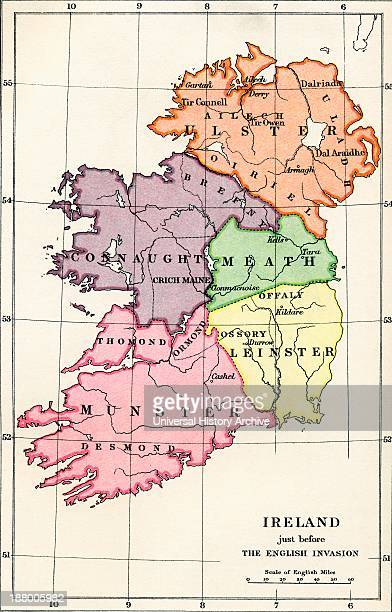 Map Of Ireland Just Before The English Invasion 1588 To 1610 From The Book Short History Of The English People By JR Green Published London 1893