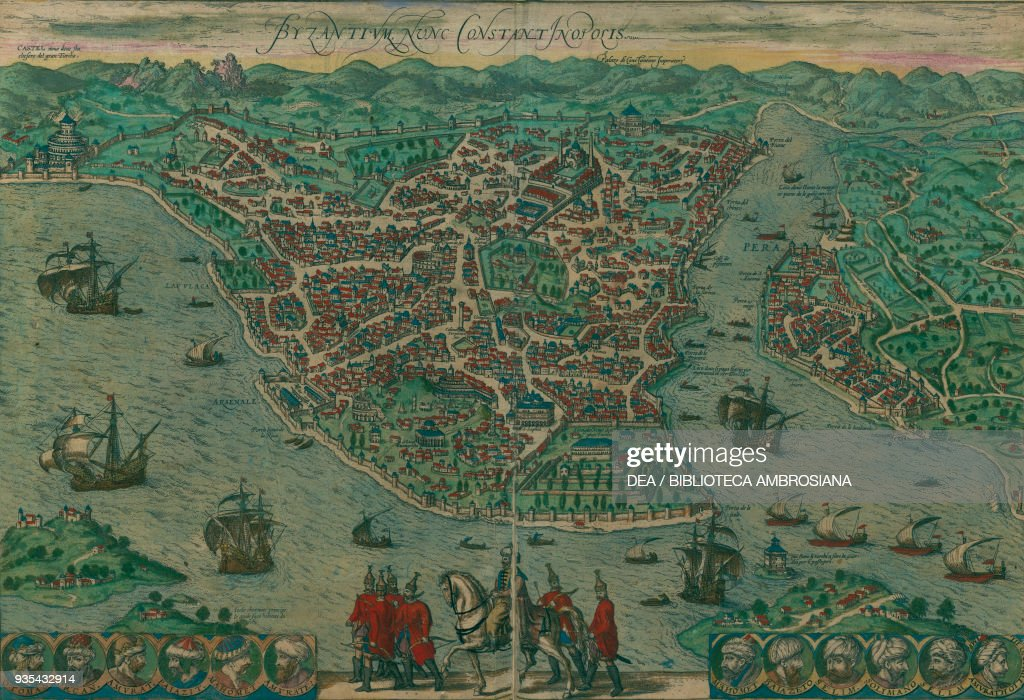Map of Istanbul, Turkey, colored engraving Pictures   Getty Images