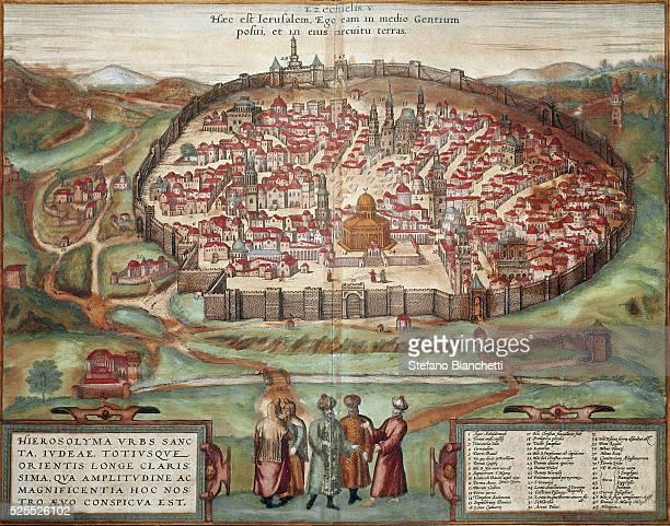 Map of Jerusalem engraving from 'Civitates Orbis Terrarum' by Georg Braun and Frans Hogenberg