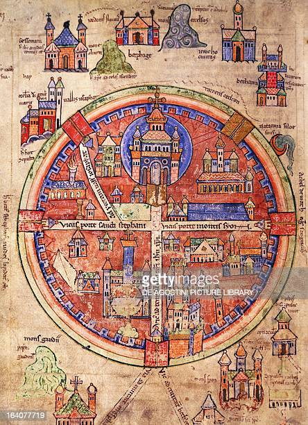 Map of Jerusalem with the cities of Gethsemane Jericho Bethany and Hebron miniature from Robert the Monk's History of the first Crusade by Robert le...