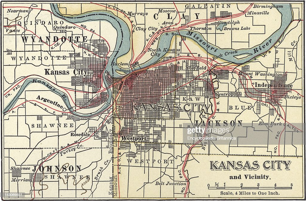 Map Of Kansas City Pictures Getty Images - Kansas city map