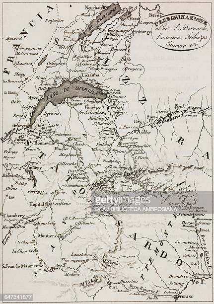 Map of Kingdom of Sardinia and Switzerland plate from Peregrinazione al Gran San Bernardo Losanna Friburgo Ginevra con una corsa a Lione Parigi e...