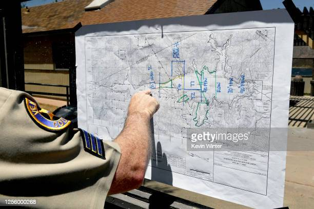 A map of Lake Piru is seen during a press conference held for missing actress Naya Rivera on July 13 2020 in Piru California Rivera known for her...