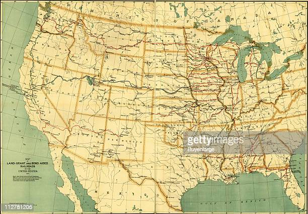 Map of LandGrant and BondAided Railroads of the United States 1982 Illustration by US Army Quartermaster Corps
