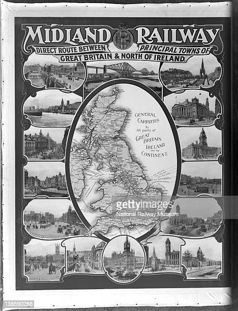 Map of lines served by the Midland Railway with photographs of the destinations the lines served 10 May 1915
