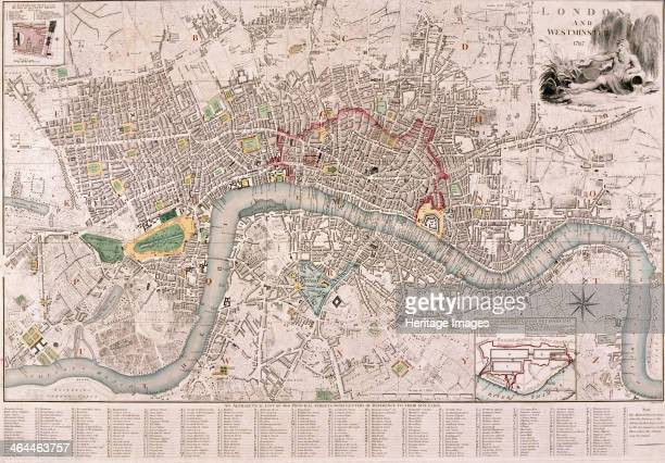 Map of London 1797 Map of the City of London City of Westminster River Thames Lambeth Southwark and surrounding areas 1797 The city walls are shown...
