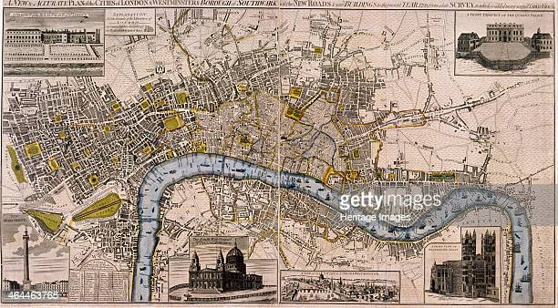 Map of London 1798 Map of the City of Westminster City of London River Thames Lambeth Southwark and surrounding areas 1798 Top left view shows St...