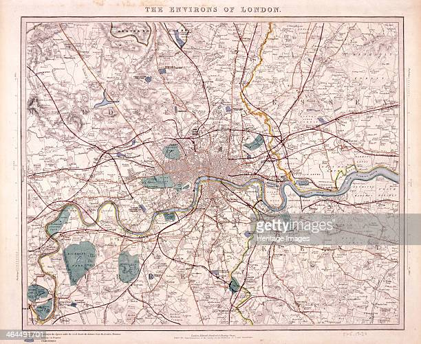 Map of London and surrounding counties along the River Thames from Thames Ditton to Erith with railway stations marked and the cemeteries coloured in...