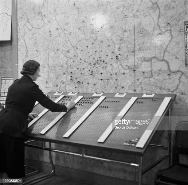 A map of London at the Auxiliary Fire Service control room in London during World War II UK October 1940