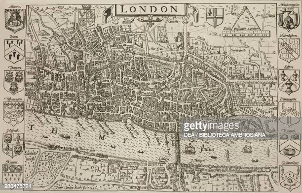 Map of London from 1593, illustration from the magazine The Graphic, volume XIV, no 360, October 21, 1876.