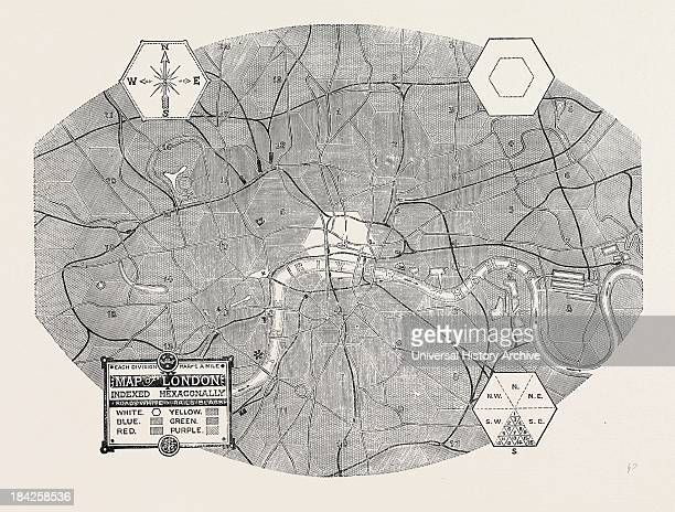 Map Of London Indexed Hexagonally 1870