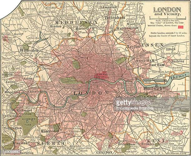 Map Of London, Map Of London, England, Circa 1902, From The 10Th Edition Of Encyclopaedia Britannica.