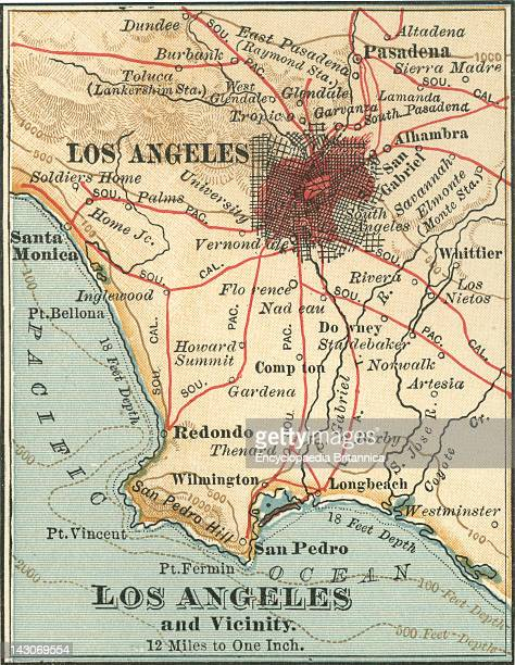 Map Of Los Angeles Map Of Los Angeles California Circa 1900 From The 10Th Edition Of Encyclopaedia Britannica