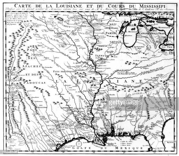 1718 A map of Louisiana and the course of the Mississippi River a vast region settled by the French in the early 18th century and now divided between...