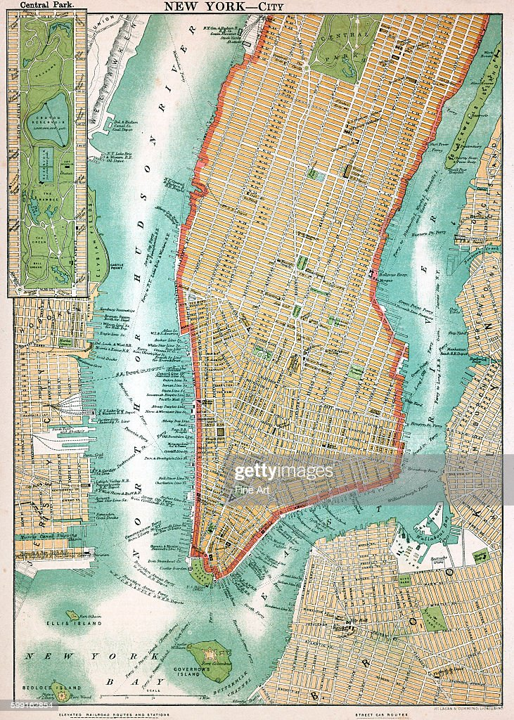 Map Of Lower Manhattan And Central Park New York City Lithograph