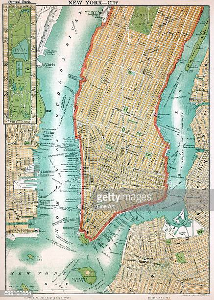 Map of lower Manhattan and Central Park New York City lithograph circa 1890