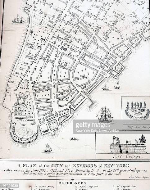 A map of lower Manhattan dating from the mid1700s is on display during a news conference to announce the discovery of archaeological remnants in...