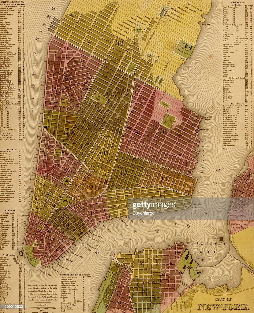 Map Of Manhattan Island 1844 Pictures Getty Images