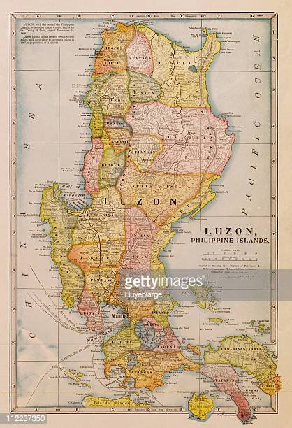 Map of Luzon Philippine Islands 1932 Illustration by Geographical Publishing Company