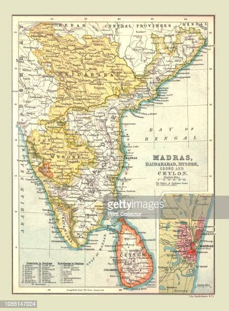 Map of Madras, Hyderabad, Mysore, Coorg and Ceylon, 1902. From The Century Atlas of the World. [John Walker & Co, Ltd., London, 1902]. Artist Unknown.