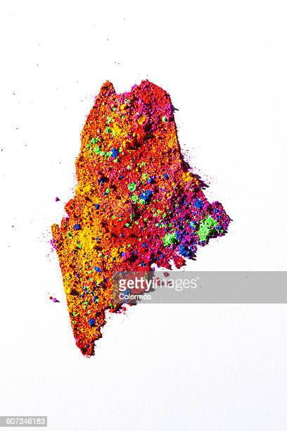 Map of Maine, USA with colored powder