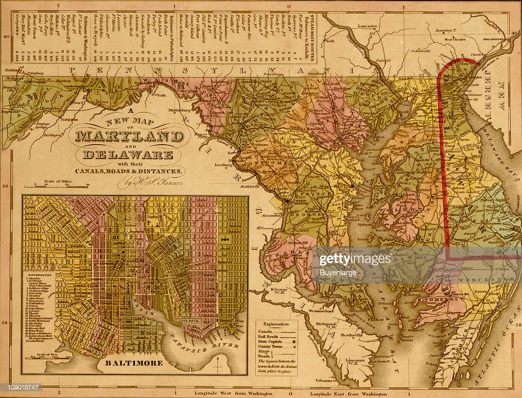 A map of Maryland and Delaware, with an inset map of the city of ...
