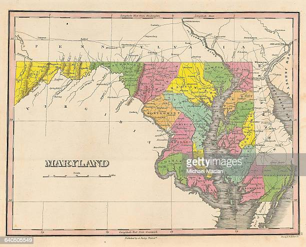 A map of Maryland created in 1826 includes such regions as Montgomery Prince Georges Allegheny Ann Arundel and Worcester