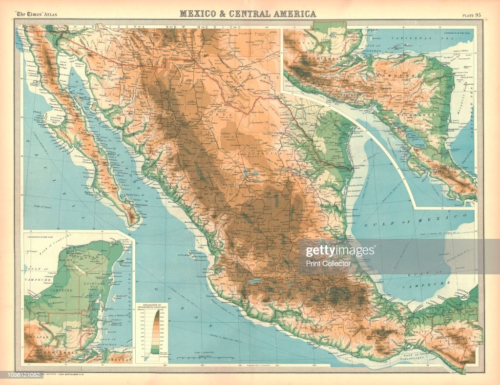 Map of Mexico and Central America. Map showing Baja California ...