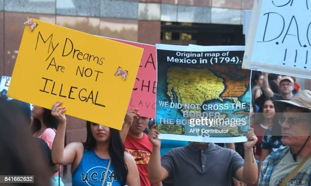 A map of Mexico as it was in 1794 is displayed as young immigrants and their supporters rally in support of Deferred Action for Childhood Arrivals in...