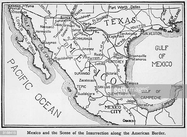 A map of Mexico showing the location of the insurrection along the American border circa 1911 The Pacific Ocean lies on one side of the country and...