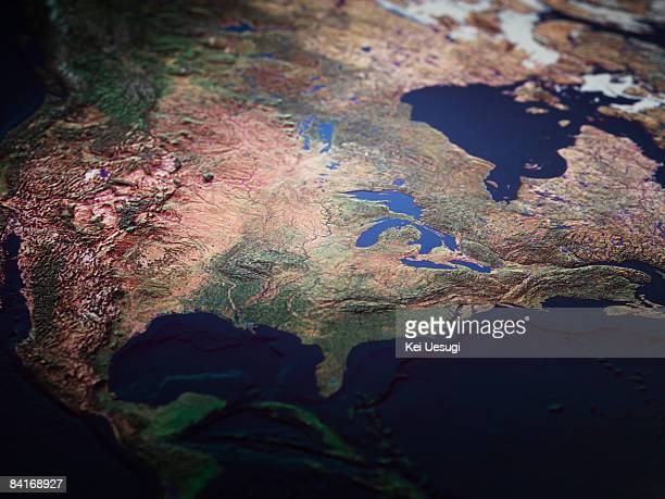 map of midwest usa - mittlerer westen stock-fotos und bilder