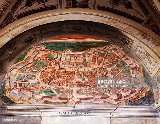 Map of Milan detail from the ground floor portico Palace of the Marquis of Santa Cruz Viso del Marques Spain frescoes by Gian Battista Castello known...