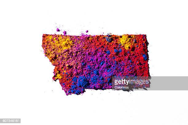 Map of Montana, USA with colored powder