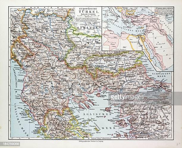 Map Of Montenegro Serbia Macedonia Northern Greece Bulgaria Albania Western Turkey 1899