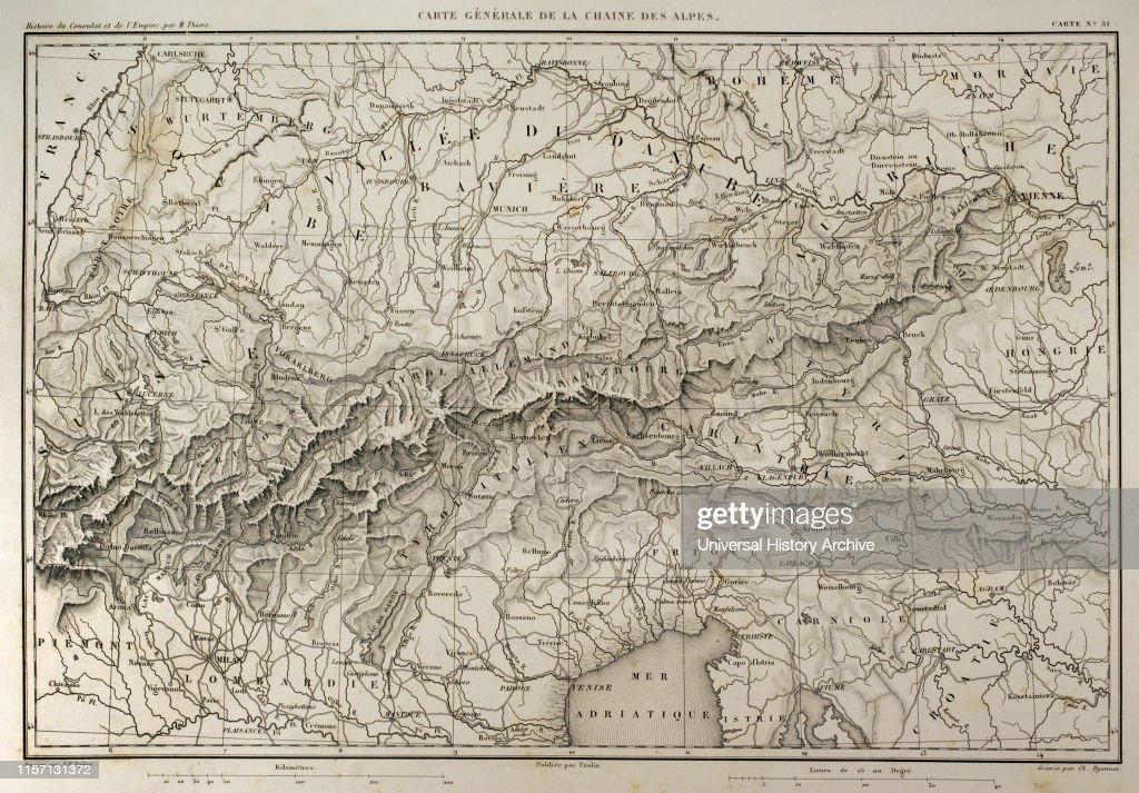 Map of mountain range of the Alps. Atlas de l\'Histoire du ...