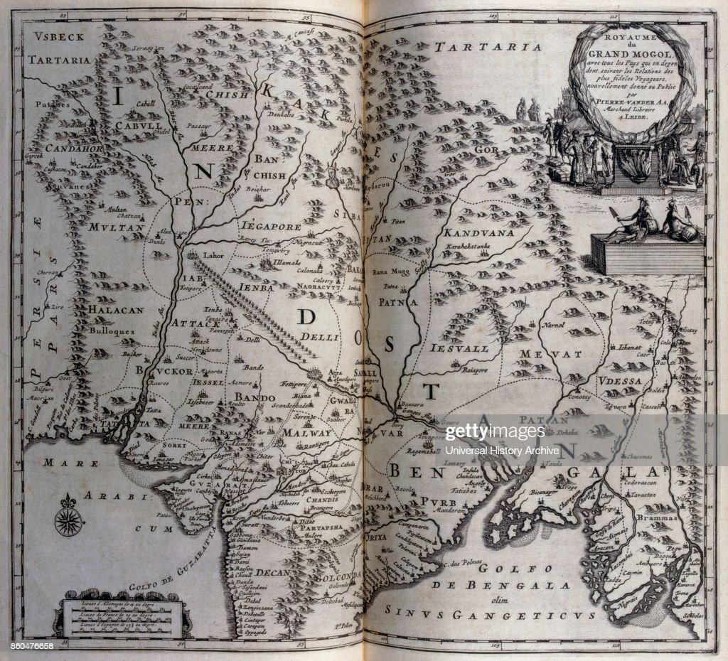 Map Australia 4371.Map Of Mughal Empire In India Circa 1680 17th Century Illustration