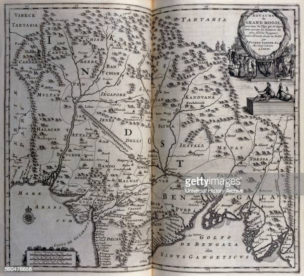 Map of Mughal empire in India circa 1680, 17th century. Illustration from voyages made to Persia and India 1727, by Johan Albrecht de Mandelslo ....
