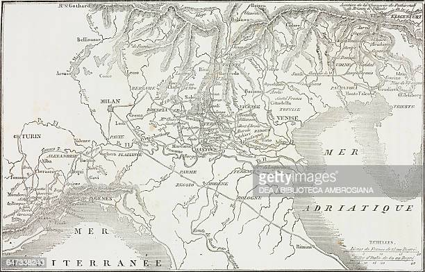 Map of Napoleon Bonaparte's First Italian Campaign, Napoleonic Wars, illustration from the first Italian edition of The Memorial of Saint Helena,...
