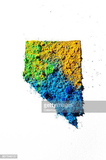 Map of Nevada, USA with colored powder