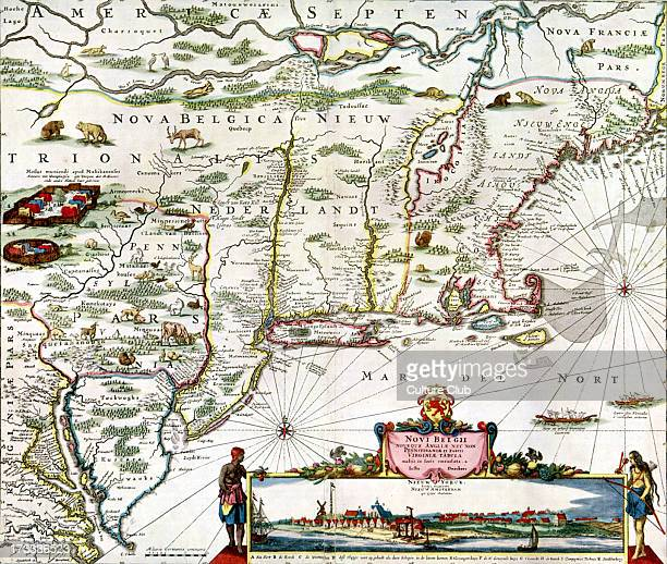 Map of New Belgium New England Virginia etc with a view of New York by Justus Danckers 1682