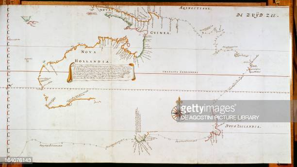 Map of New Holland now Australia and of New Zealand drawn from the information collected during the trips undertaken by Abel Janszoon Tasman's and...