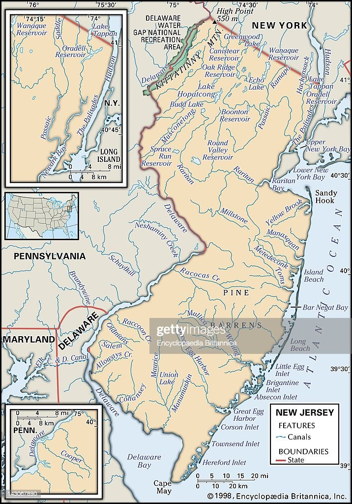 Map Of New Jersey, Physical Map Of The State Of New Jersey Showing ...