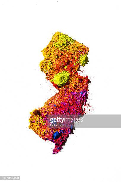 Map of New Jersey, USA with colored powder