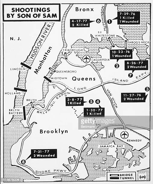 A map of New York City shows the location of the Son of Sam murders of 1976 and 1977