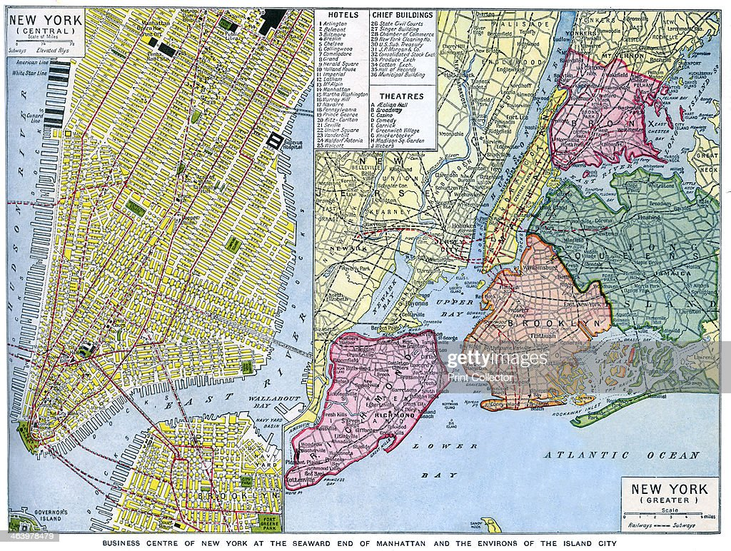Map of New York City USA c1930s Pictures Getty Images