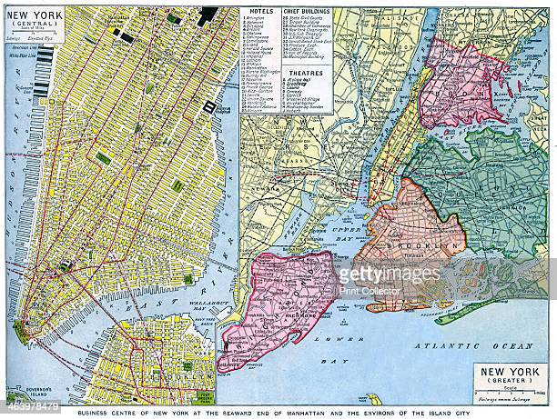 Map of New York City USA c1930s A print from Countries of the World edited by JA Hammerton volume V the Fleetway House London c1930s