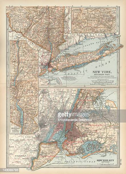 Map Of New York State Map Of Southern New York State United States Insets Map Of New York City The Hudson River And The Catskill Mountains Circa 1902...