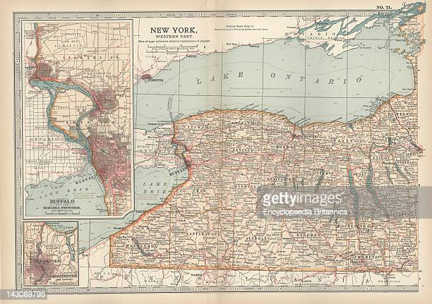 Map Of New York State Map Of Western New York State With Inset Map Of Buffalo Niagara Frontier And Rochester Circa 1902 From The 10Th Edition Of...