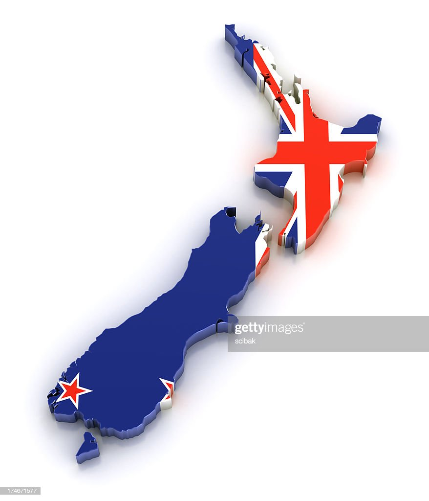 Map of New Zealand with flag overlaid : Stock Photo