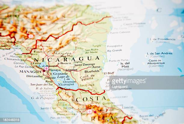 mapa da nicarágua - nicarágua - fotografias e filmes do acervo